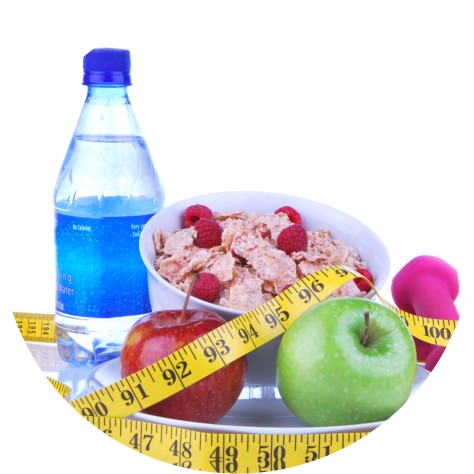 water,fruits and tape measure