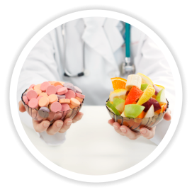 vitamins and fruits in a bowl